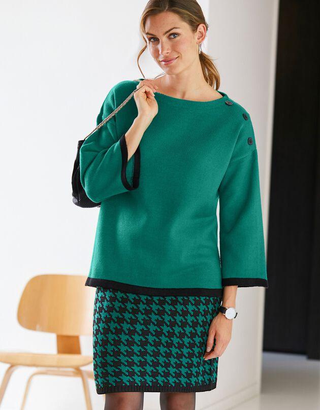 Fifties trui in tweekleurige jacquard, groen, hi-res