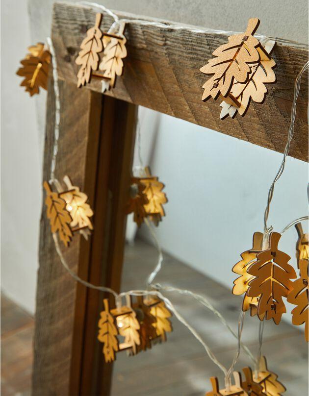 Guirlande lumineuse feuilles à leds, bois, hi-res