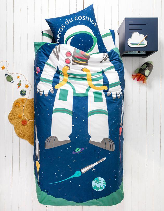 Bedlinnen voor kinderen met vermommingseffect Cosmos, in katoen, marine, hi-res