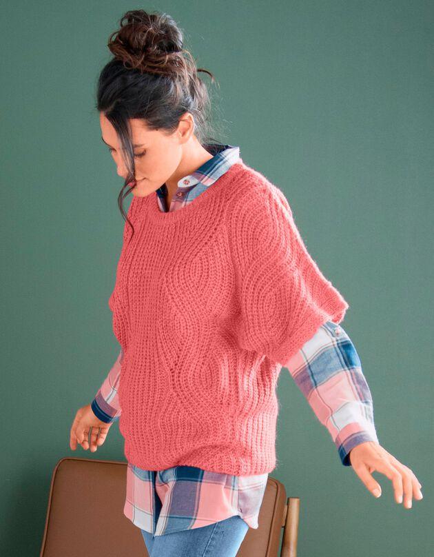 Poncho trui met mouwen op ellebooglengte, tomette, hi-res