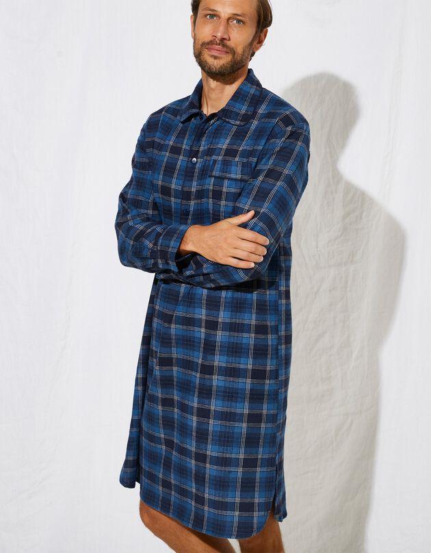 Chemise de nuit liquette pilou carreaux, bleu, hi-res