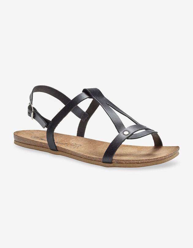 Platte leren sandalen - zwart, zwart, hi-res