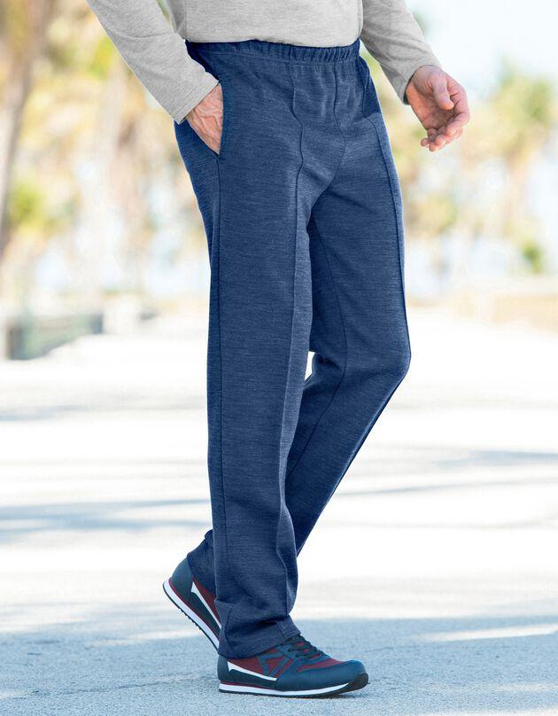 Pantalon loisirs molleton, bleu jean, hi-res