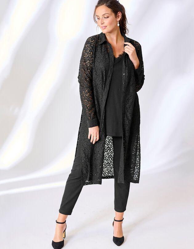 Chemise longue dentelle boutonnée, noir / noir, hi-res