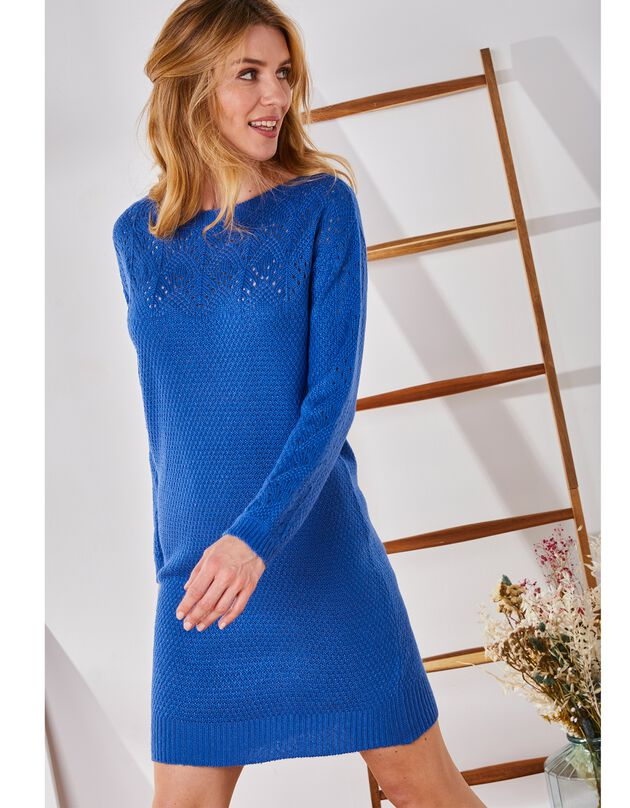 Trui-jurk met boothals, in ajourtricot met mohairtouch, grijsblauw, hi-res