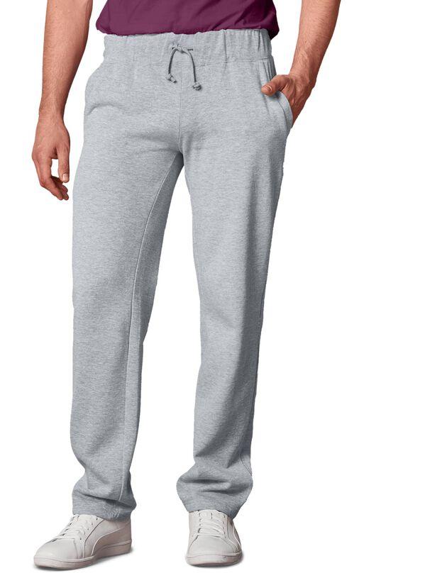 Pantalon jogging molleton bas droits, gris chiné, hi-res