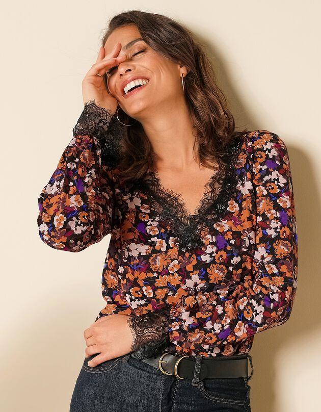 T-shirt met bloemenprint, V-hals en geschulpte kant, zwart / karamel, hi-res