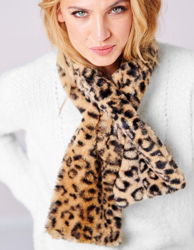 Sjaal in imitatiebont, bruin, hi-res