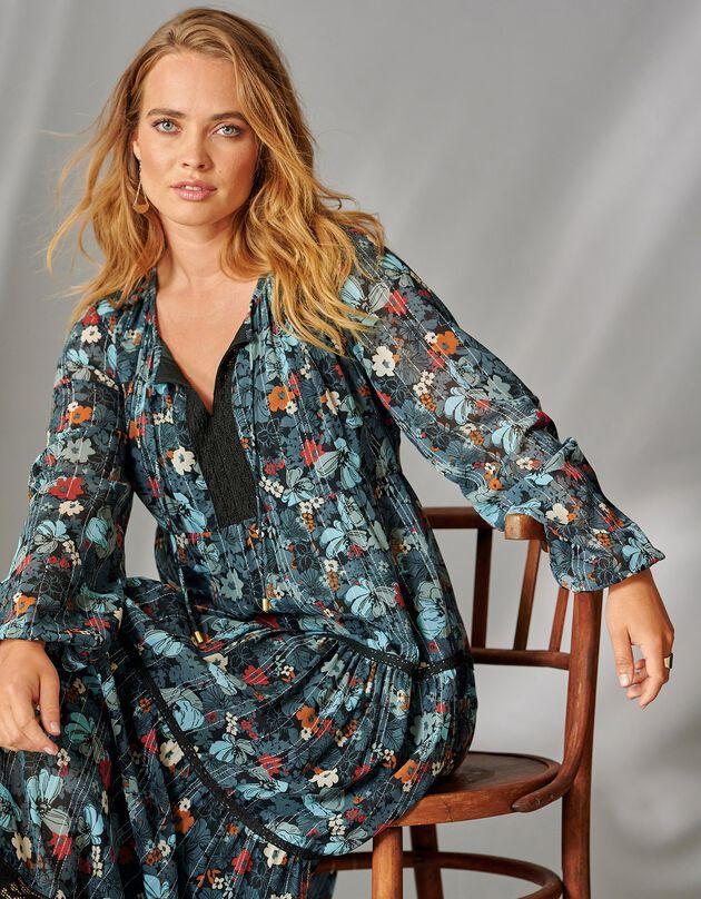 Lange jurk met hals in macramé, antraciet / paprika, hi-res