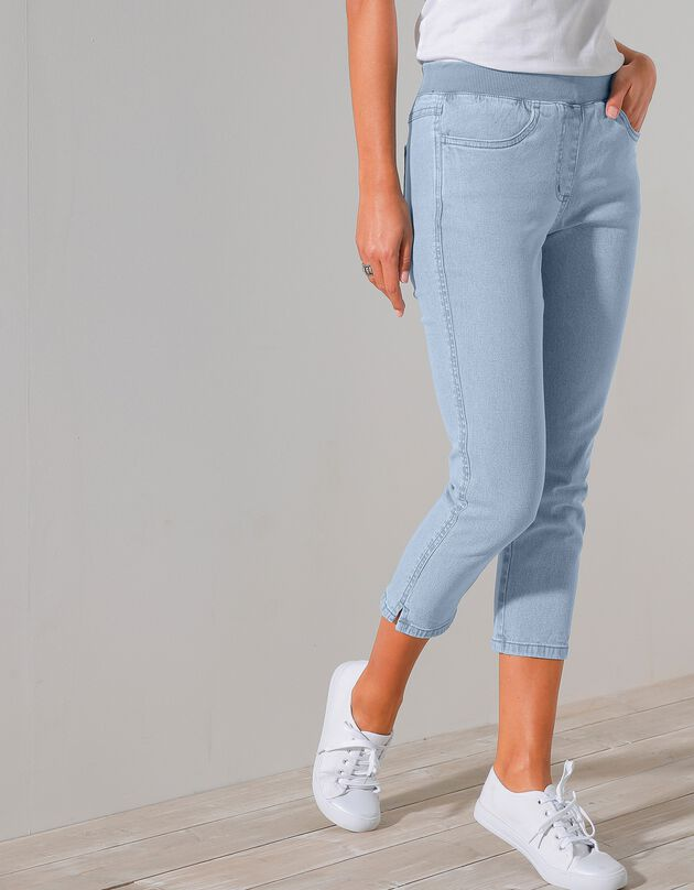 3/4-jeans met elastische taille, bleached, hi-res