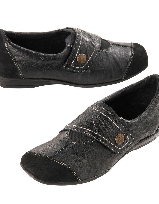 Leren derby's, zwart, hi-res