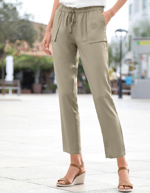 Pantalon 7/8ème fluide, kaki clair, hi-res