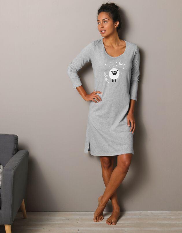 Kort nachthemd met lange mouwen en schaapprint, chiné grijs, hi-res