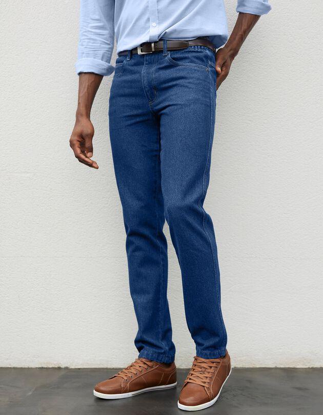 Comfortabele jeans met elastische tailleband, stone, hi-res