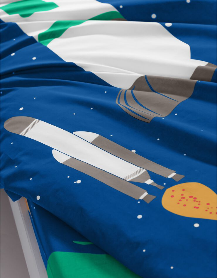 Bedlinnen voor kinderen met vermommingseffect Cosmos, in katoen, marine, hi-res image number 4
