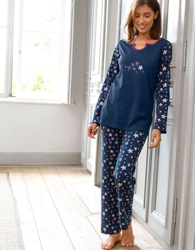 Pyjama met bloemenprint - zuiver katoen, marine, hi-res
