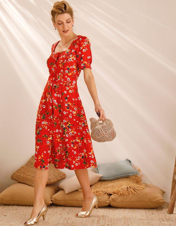 Robe col carré imprimée fleurs, rouge / blanc, hi-res image number 4