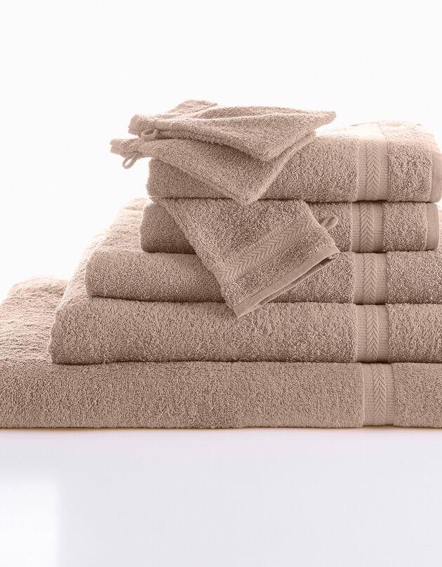 Effen badstof 420 g/m2 met zacht comfort, taupe, hi-res
