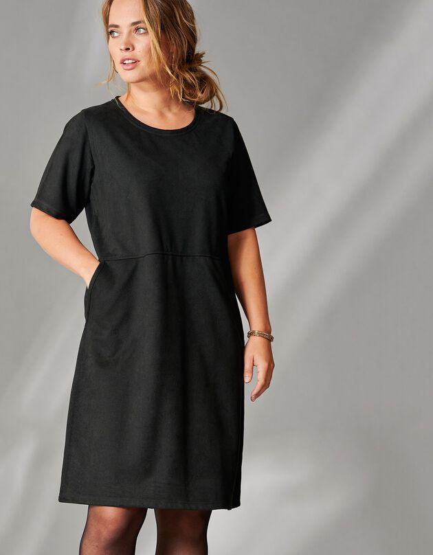 Korte jurk met korte mouwen, zwart, hi-res