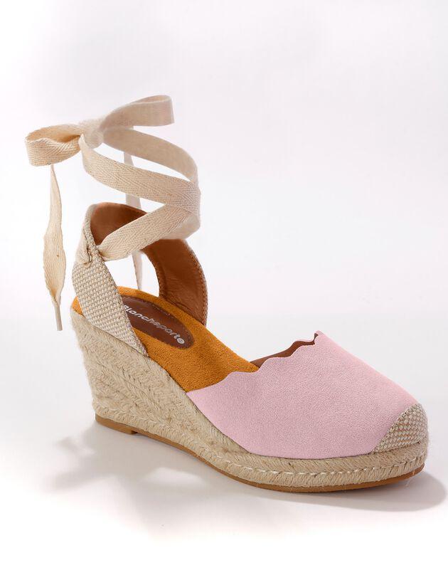 Sandalen met sleehak en striklintjes - roze, roze, hi-res