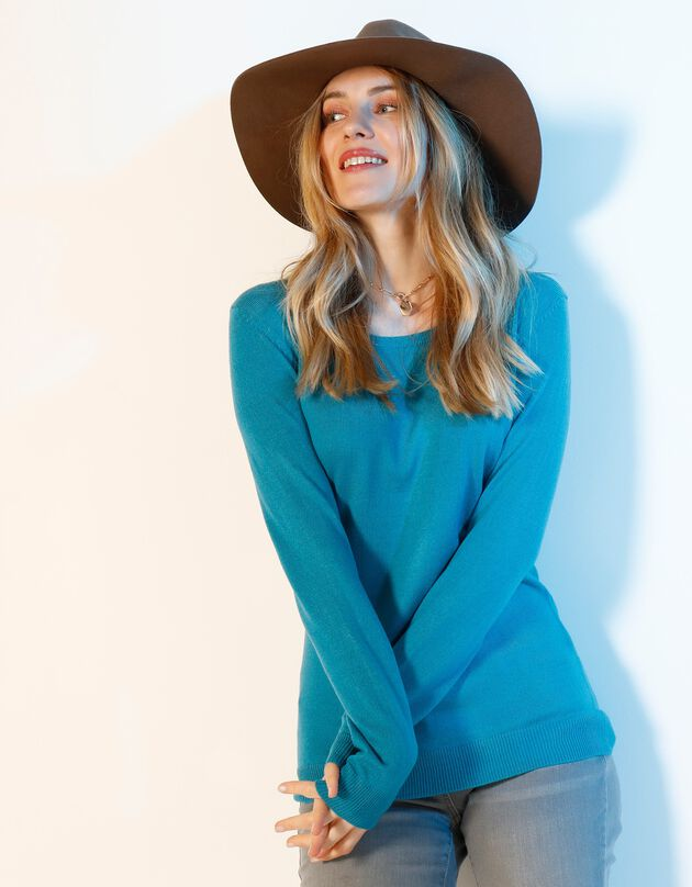 Effen trui met ronde hals en kasjmiertouch, Pruisisch blauw, hi-res