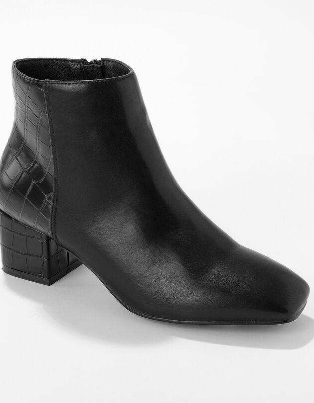 Boots bi-matière bout carré - noir, noir, hi-res