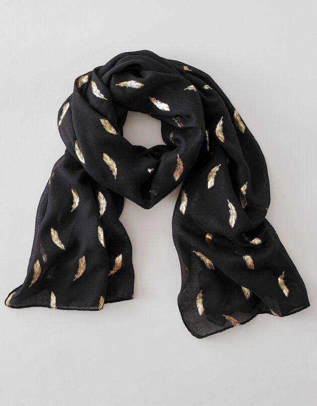 Foulard met pluimmotief, zwart, hi-res