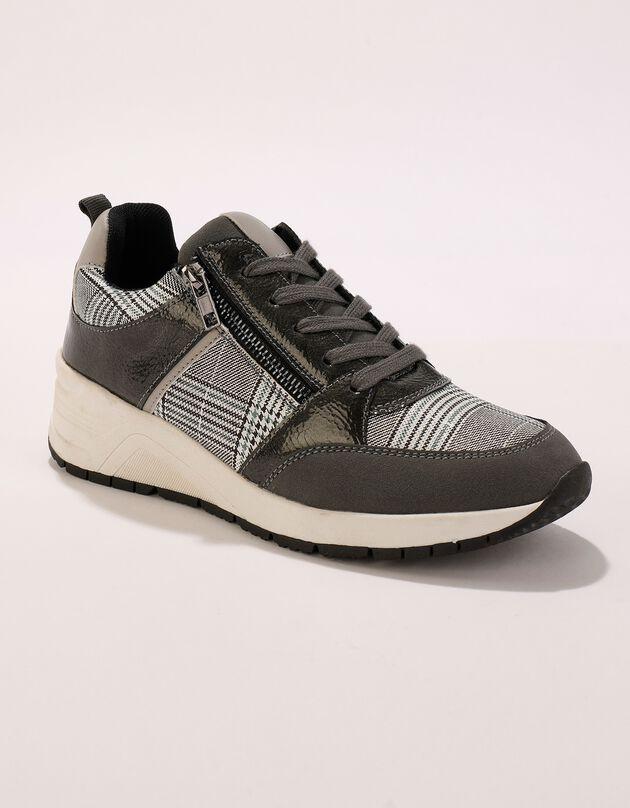Sneakers met doorloopzool en Prince de Galles print - dames, grijs, hi-res