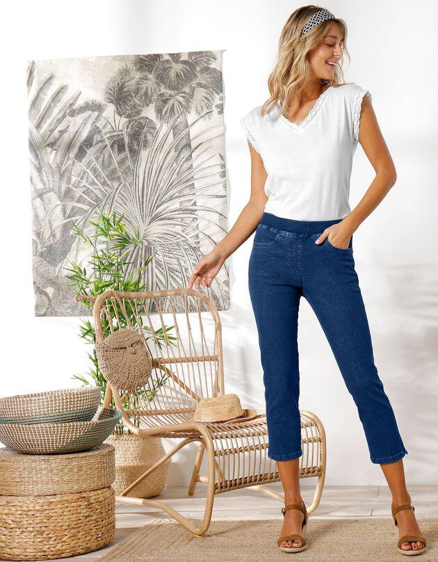 3/4-jeans met elastische taille, stone, hi-res
