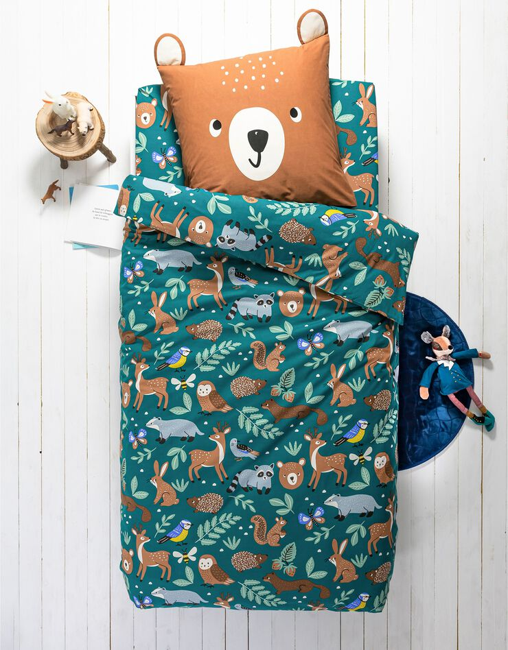 Bedlinnen voor kinderen met knuffelbeer motief in biologisch katoen, eco-verantwoord, groen, hi-res image number 0