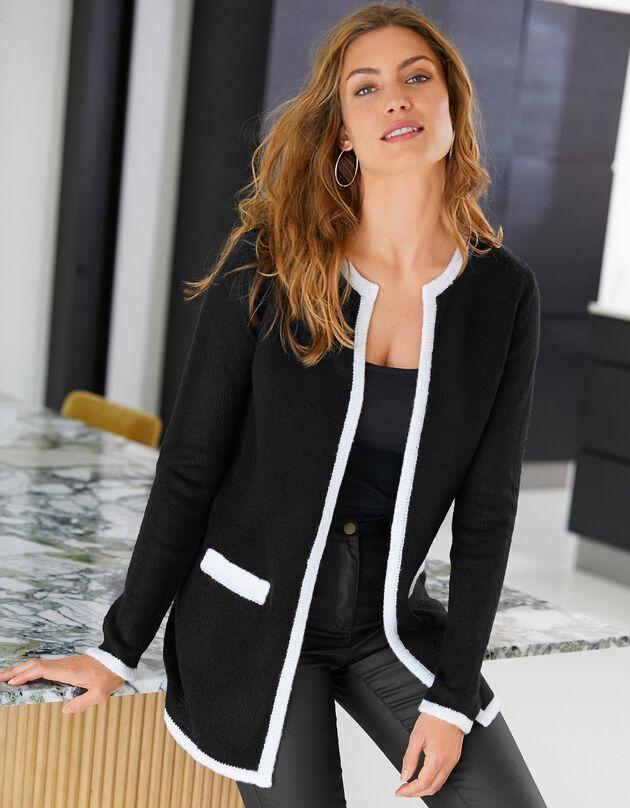 Lang, tweekleurig vest, zwart / wit, hi-res