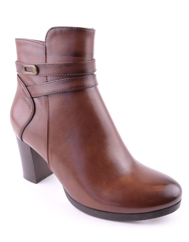 Boots met riempje, hak en rits, voor dames - bruin, bruin, hi-res