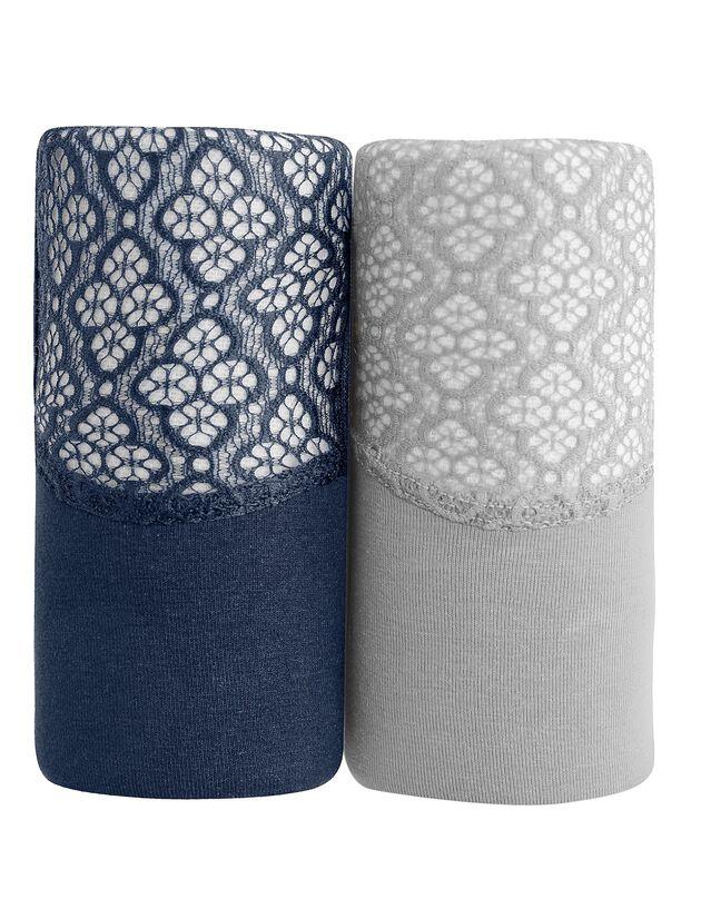 Culotte forme maxi en coton et dentelle - Lot de 2, gris + marine, hi-res