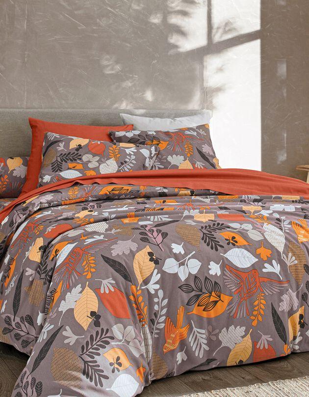 Linge de lit Forest en coton imprimé feuilles, terracotta, hi-res