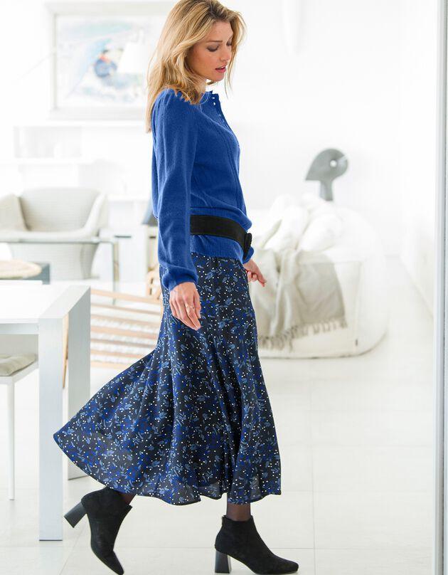 Bedrukte, lange rok in soepele crêpe, zwart / blauw, hi-res