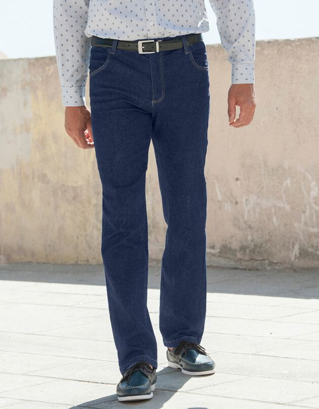 Jeans met elastische taille - binnenpijpl. 82 cm, raw, hi-res