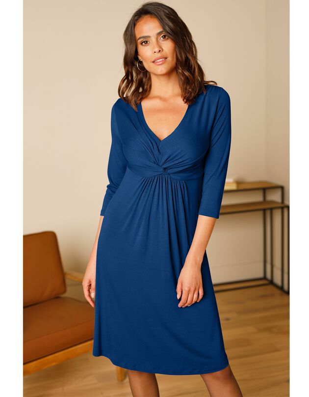 Robe courte nouée fluide unie - manches 3/4, bleu dur, hi-res