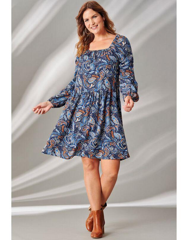 Bedrukte jurk met vierkante hals, marine / karamel, hi-res