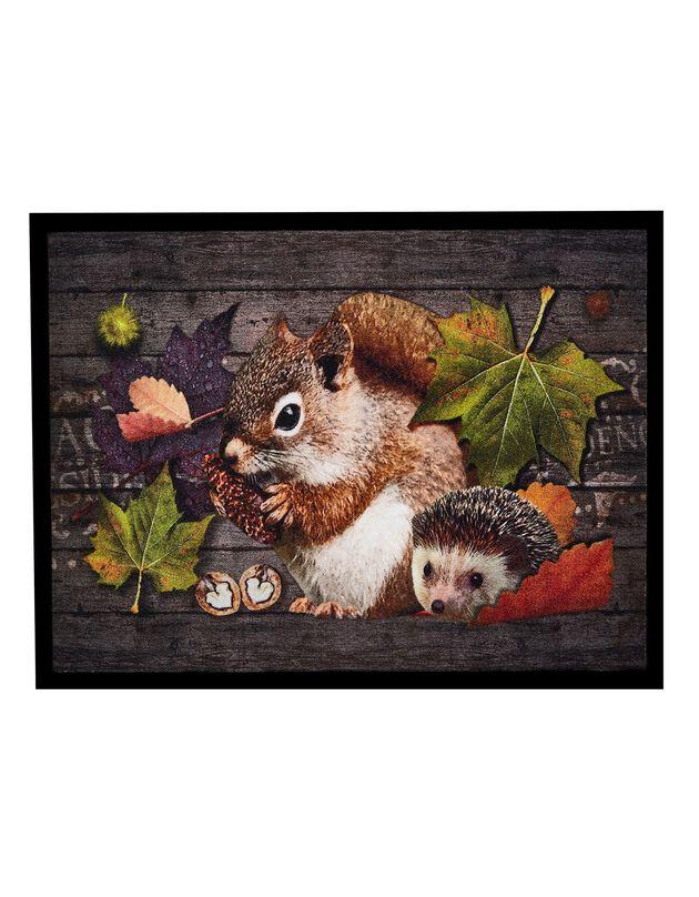 Tapis anti-poussière motif écureuil hérisson, unique, hi-res