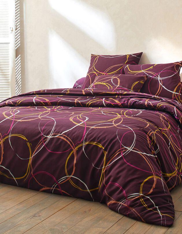 Bedlinnen in polyester-katoen Noémie met cirkelprint, pruim, hi-res