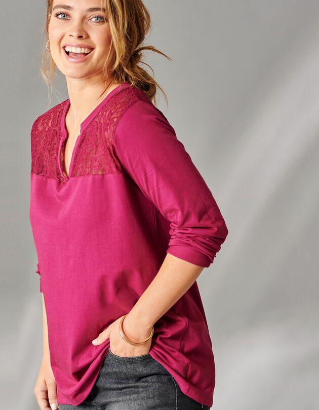 Ruim T-shirt met lange mouwen en kant, pruim, hi-res