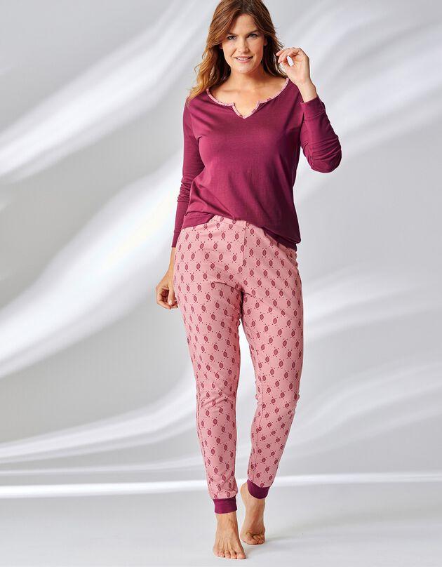 Pyjama imprimé graphique manches longues, grenat, hi-res