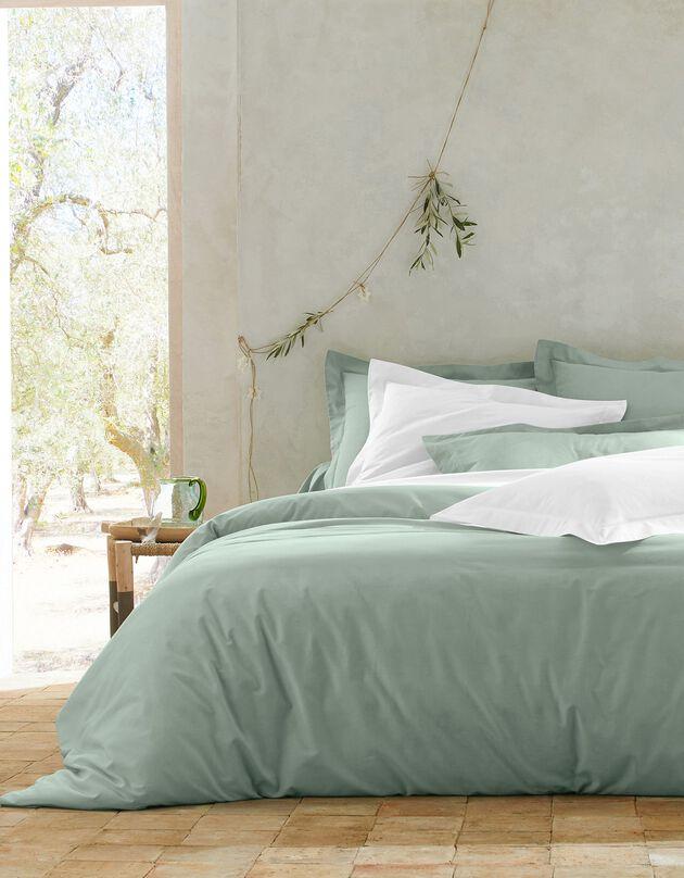 Effen bedlinnen in polykatoen, amandel groen, hi-res