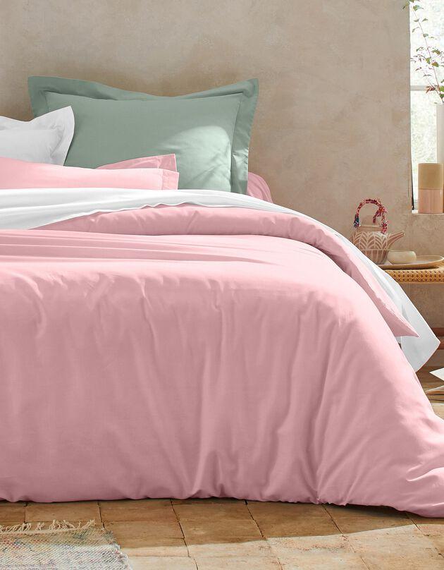 Linge de lit uni coton, rose pâle, hi-res