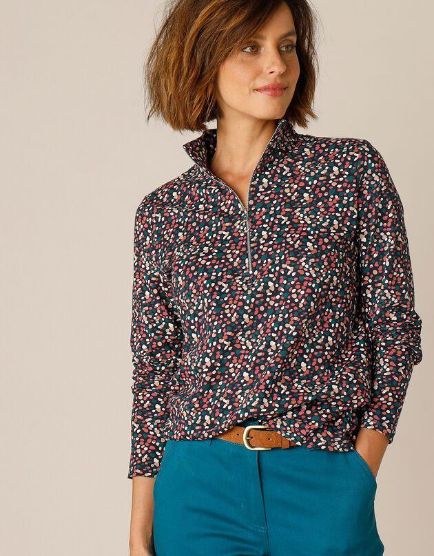 Tee-shirt col montant zippé imprimé, marine, hi-res