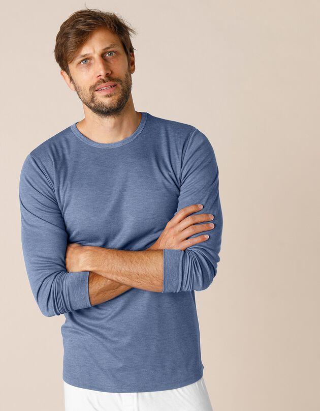 T-shirt met lange mouwen en lang rugpand, in polyester - herenondergoed, set van 2, jeans, hi-res