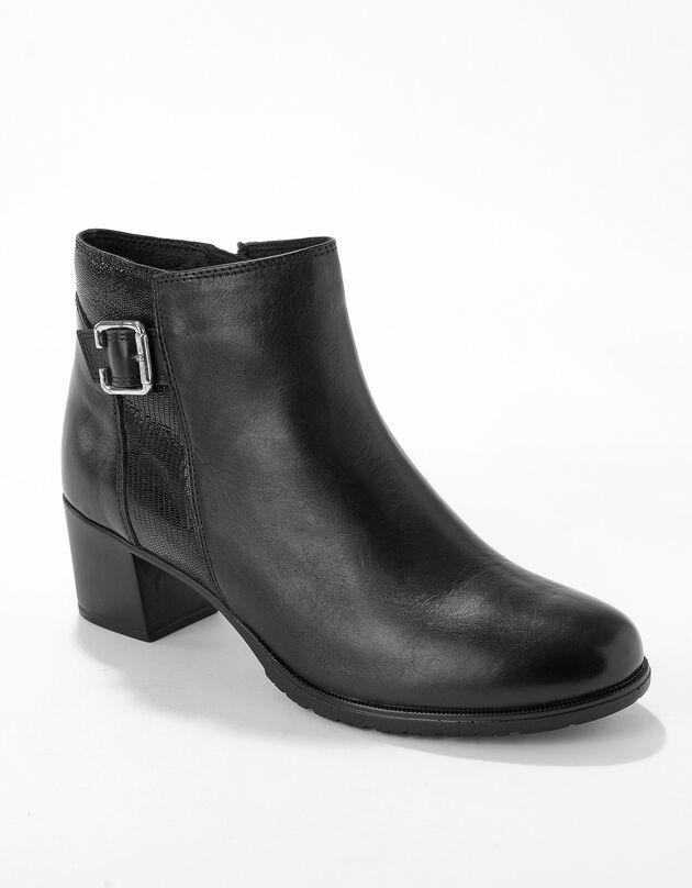 Boots cuir bi-matière certifié LWG à boucle, noir, hi-res