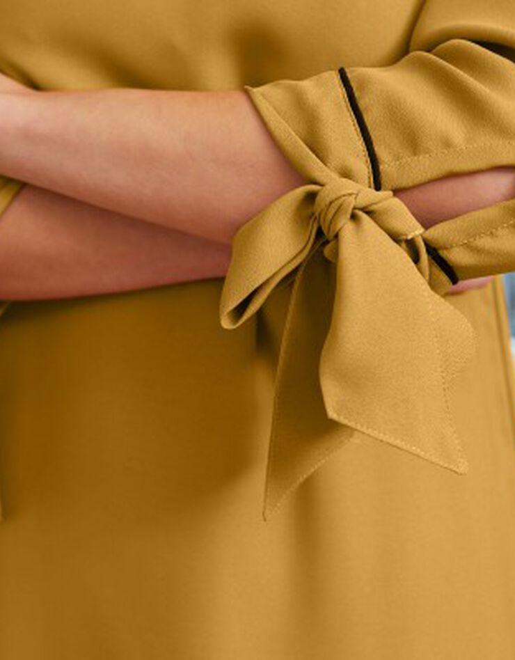 Uitlopende jurk met contrasterende biesjes, saffraangeel, hi-res image number 2