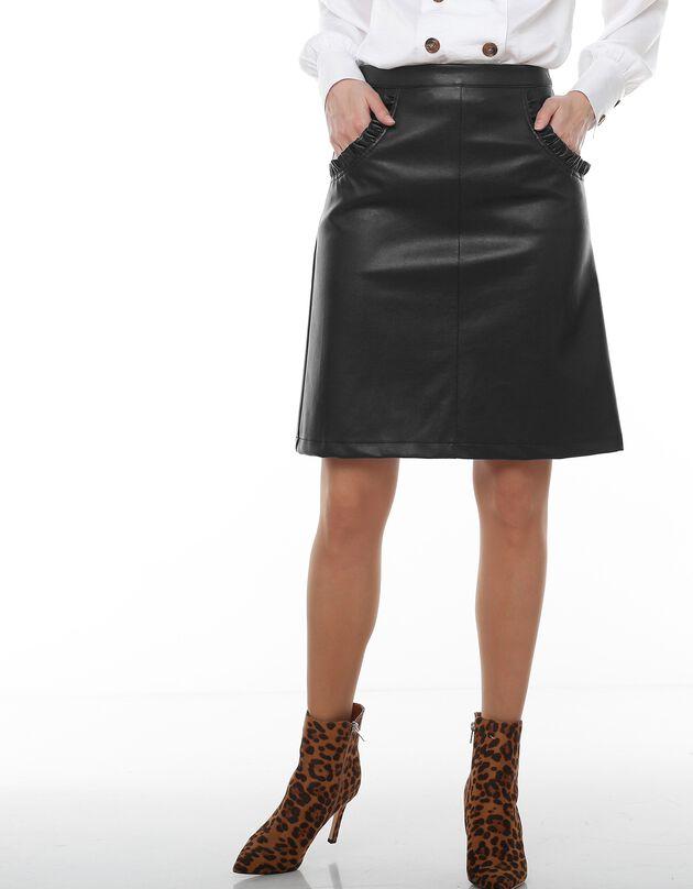Jupe aspect cuir(1), noir, hi-res