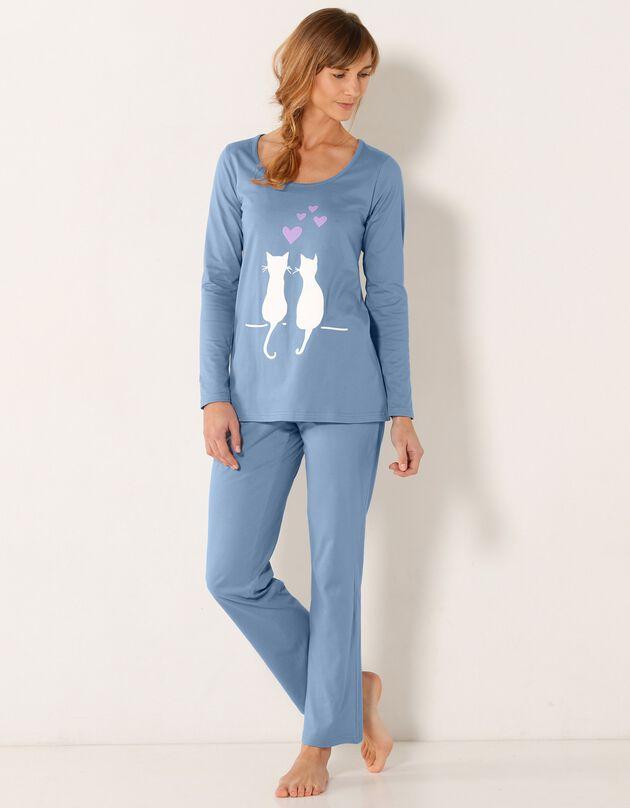 Pyjama imprimé couple chats, bleu, hi-res